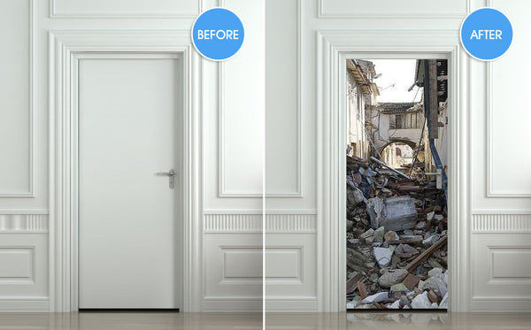 "Door STICKER fragments splinters rescuer ruins mural decole film self-adhesive poster 30""x79""(77x200 cm) - Pulaton stickers and posters  - 2"