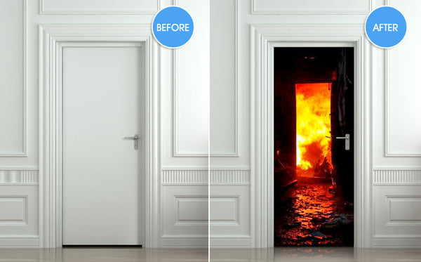 "Door STICKER fire fireman conflagration flame flare blaze mural decole film self-adhesive poster 30""x79""(77x200 cm) - Pulaton stickers and posters  - 2"