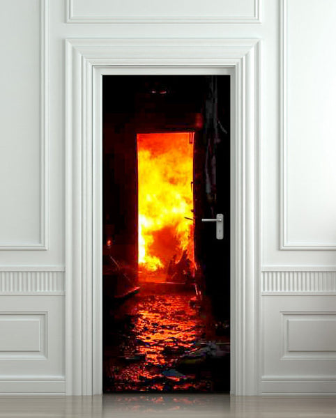 "Door STICKER fire fireman conflagration flame flare blaze mural decole film self-adhesive poster 30""x79""(77x200 cm) - Pulaton stickers and posters  - 1"