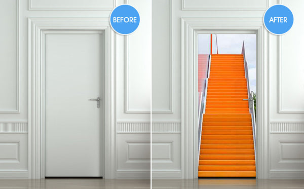 "Door STICKER stair orange raise raising mural decole film self-adhesive poster 30""x79""(77x200 cm) - Pulaton stickers and posters  - 2"