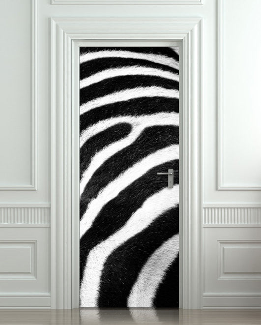 "Door STICKER zebra zoo Madagascar Africa animal mural decole film self-adhesive poster 30""x79""(77x200 cm) - Pulaton stickers and posters"