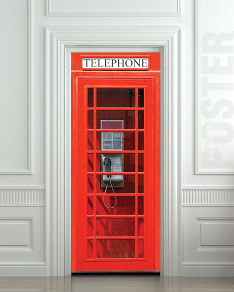 "Door wall sticker London Telephone Box self-adhesive poster, mural, decole, film 30""x79"" (77x200 cm) - Pulaton stickers and posters  - 1"