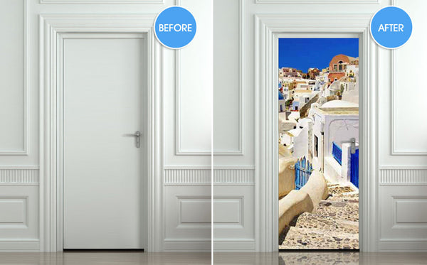 "Door STICKER Greek Greeck town streets travel mural decole film self-adhesive poster 30""x79""(77x200 cm) - Pulaton stickers and posters  - 2"