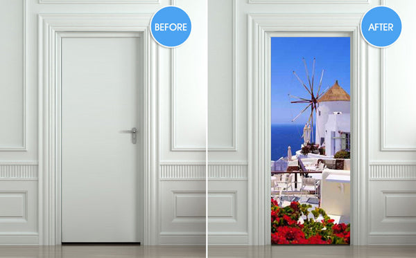 "Door STICKER Greek Greeck town mill streets travel mural decole film self-adhesive poster 30""x79""(77x200 cm) - Pulaton stickers and posters  - 2"