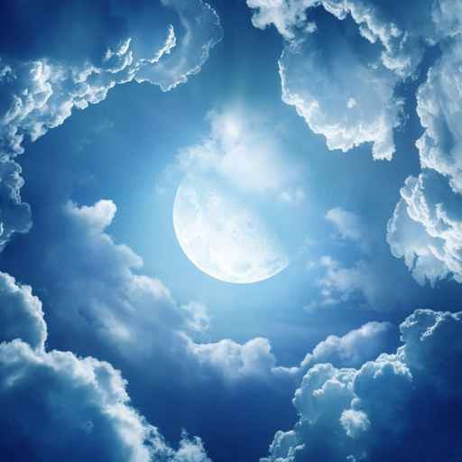 Ceiling STICKER MURAL air moon blue clouds decole poster - Pulaton stickers and posters  - 2