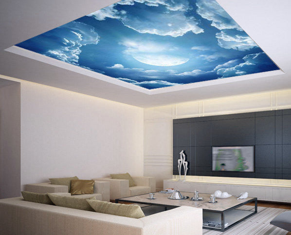 Ceiling STICKER MURAL air moon blue clouds decole poster - Pulaton stickers and posters  - 1