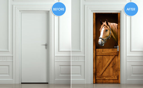 "Door STICKER horse barn stable stall mural decole film self-adhesive poster 30""x79""(77x200 cm) - Pulaton stickers and posters  - 2"