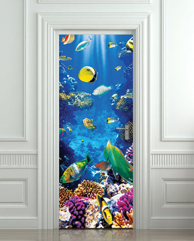 "Door STICKER aquarium fish sea underwater mural decole film self-adhesive poster 30""x79""(77x200 cm) - Pulaton stickers and posters  - 1"