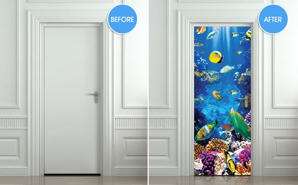 "Door STICKER aquarium fish sea underwater mural decole film self-adhesive poster 30""x79""(77x200 cm) - Pulaton stickers and posters  - 2"