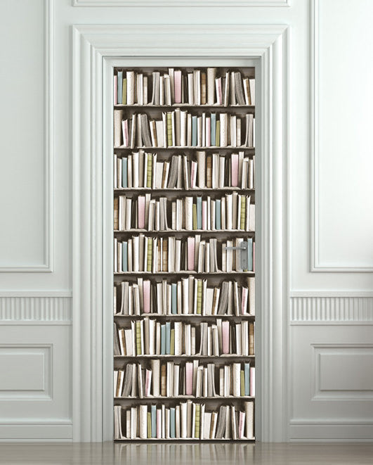 Door STICKER pastel books library cabinet mural decole - Pulaton stickers and posters  - 1