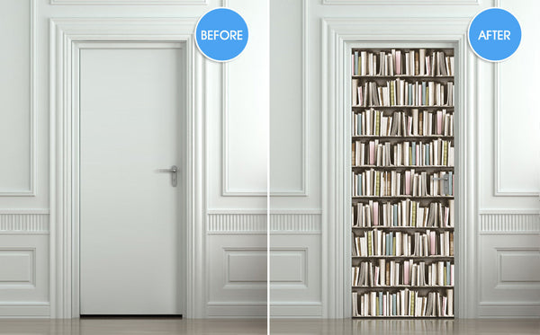 Door STICKER pastel books library cabinet mural decole - Pulaton stickers and posters  - 2