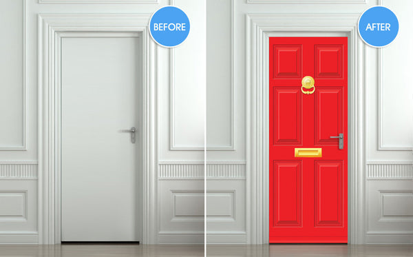 "Door STICKER Gold red doors mural decole film self-adhesive poster 30""x79""(77x200 cm) - Pulaton stickers and posters  - 2"