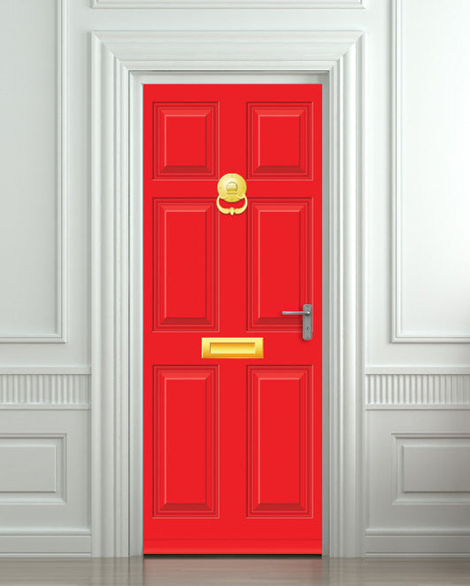 "Door STICKER Gold red doors mural decole film self-adhesive poster 30""x79""(77x200 cm) - Pulaton stickers and posters  - 1"