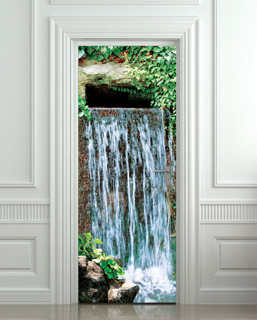 "Door STICKER waterfall landscape cataract water mural decole film self-adhesive poster 30""x79""(77x200 cm) - Pulaton stickers and posters  - 1"