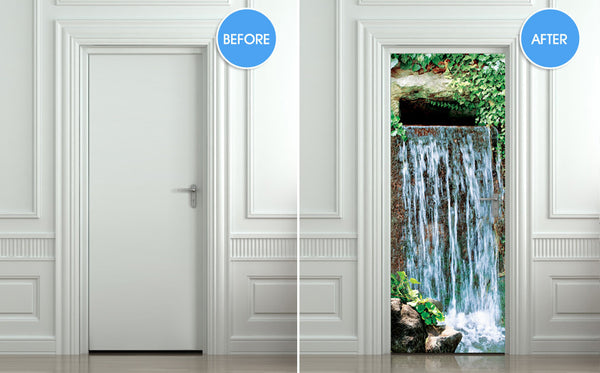 "Door STICKER waterfall landscape cataract water mural decole film self-adhesive poster 30""x79""(77x200 cm) - Pulaton stickers and posters  - 2"