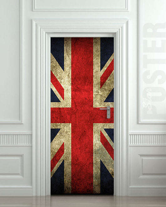 "Door STICKER British flag UK banner Great Britain England English London mural decole film self-adhesive poster 30""x79""(77x200 cm) - Pulaton stickers and posters  - 1"