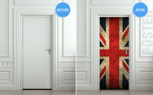 "Door STICKER British flag UK banner Great Britain England English London mural decole film self-adhesive poster 30""x79""(77x200 cm) - Pulaton stickers and posters  - 2"