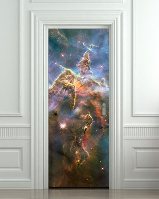 "Door STICKER galaxy space stars hubble mural decole film self-adhesive poster 30""x79""(77x200 cm) - Pulaton stickers and posters  - 1"