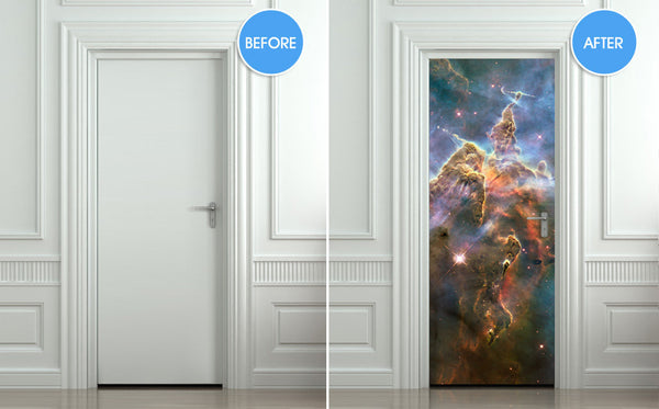 "Door STICKER galaxy space stars hubble mural decole film self-adhesive poster 30""x79""(77x200 cm) - Pulaton stickers and posters  - 2"