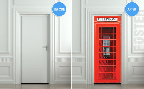 "Door wall sticker London Telephone Box self-adhesive poster, mural, decole, film 30""x79"" (77x200 cm) - Pulaton stickers and posters  - 3"