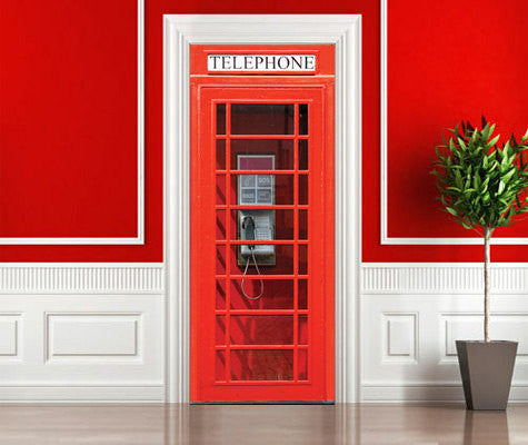 "Door wall sticker London Telephone Box self-adhesive poster, mural, decole, film 30""x79"" (77x200 cm) - Pulaton stickers and posters  - 2"