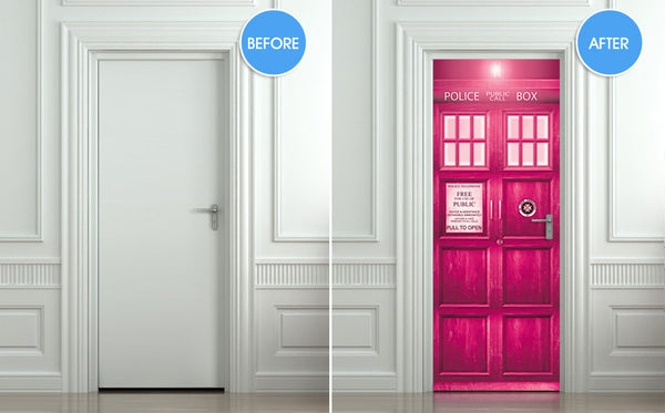 "Crazy stuff! Door STICKER PINK Police box magical mural decole film self-adhesive poster 30""x79""(77x200 cm) - Pulaton stickers and posters  - 2"