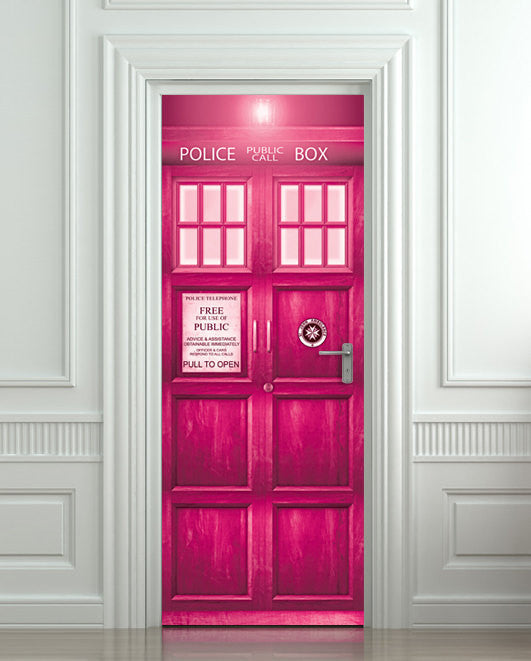 "Crazy stuff! Door STICKER PINK Police box magical mural decole film self-adhesive poster 30""x79""(77x200 cm) - Pulaton stickers and posters  - 1"