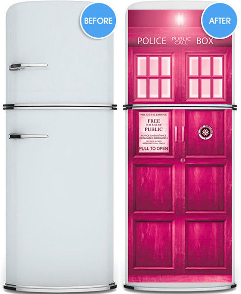 "Crazy stuff! Door STICKER PINK Police box magical mural decole film self-adhesive poster 30""x79""(77x200 cm) - Pulaton stickers and posters  - 3"