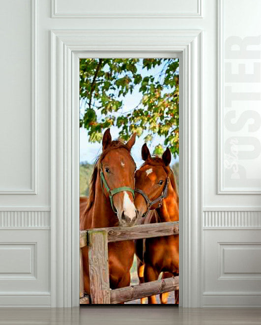 "Door STICKER horse mare mustang hoof ride mural decole film self-adhesive poster 30""x79""(77x200 cm) - Pulaton stickers and posters"