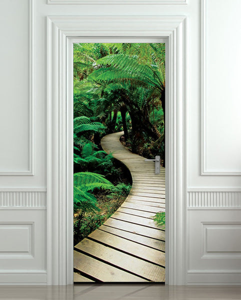 "Door STICKER palm tree path mural decole film self-adhesive poster 30""x79""(77x200 cm) - Pulaton stickers and posters  - 1"