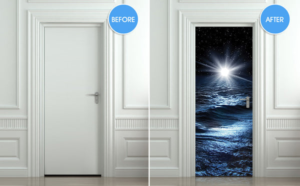"Door STICKER sea night water mural decole film self-adhesive poster 30""x79""(77x200 cm) - Pulaton stickers and posters  - 2"