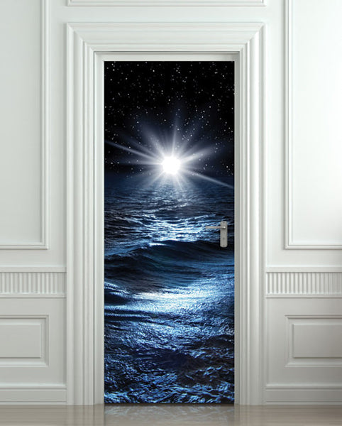 "Door STICKER sea night water mural decole film self-adhesive poster 30""x79""(77x200 cm) - Pulaton stickers and posters  - 1"