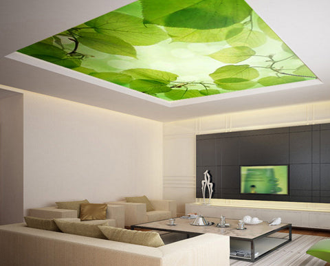 Ceiling STICKER MURAL green leafes decole poster