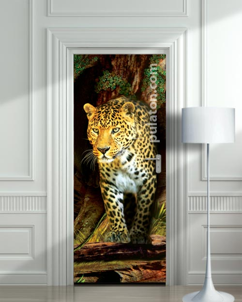Door STICKER mural leopard jaguar - Jungle cover, wrap, cling, decole, poster. ONE PIECE. All door sizes