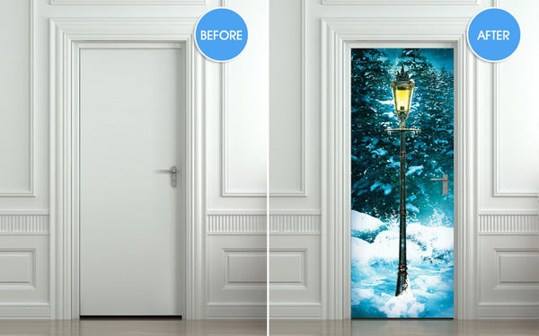 Door STICKER mural lamp post - Winter fantasy forest, wrap, cling, decole, poster. ONE PIECE. All door sizes