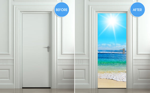 "Door Wall STICKER ocean beach poster decole cover film 30""x79"" (77x200 cm)"