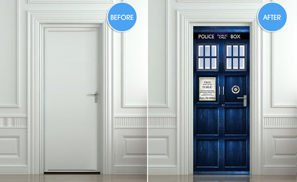 "Door STICKER Police box magical mural decole film self-adhesive poster 30""x80"" (77x203 cm) - Pulaton stickers and posters  - 2"