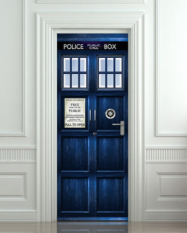 "Door STICKER Police box magical mural decole film self-adhesive poster 30""x80"" (77x203 cm) - Pulaton stickers and posters  - 1"