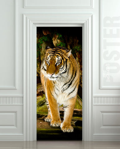 Door STICKER mural tiger - Jungle cover, wrap, cling, decole, poster. ONE PIECE. All door sizes