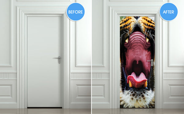 "Door STICKER tiger mouth animal mural decole film self-adhesive poster 30""x79""(77x200 cm) - Pulaton stickers and posters  - 2"