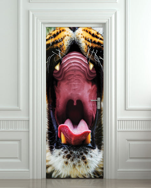 "Door STICKER tiger mouth animal mural decole film self-adhesive poster 30""x79""(77x200 cm) - Pulaton stickers and posters  - 1"