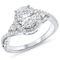 Oval Halo Pavé Engagement Bridal Ring