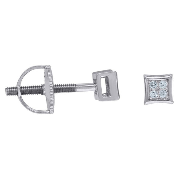Mini Square Pave Stud Earrings