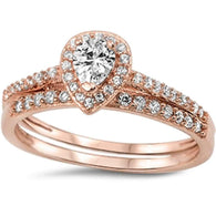 Pear Cut Halo with Pave Rose Gold Bridal Set