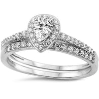 Pear Cut Halo with Pave Silver Bridal Set