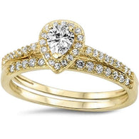 Pear Cut Halo with Pave Gold Bridal Set