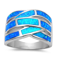 Blue Opal Inlay Bypass Dinner Band Ring