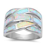 White Opal Inlay Bypass Dinner Band Ring