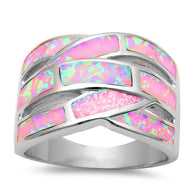 Pink Opal Inlay Bypass Dinner Band Ring