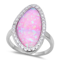 Cabochon Pink Opal halo Ring